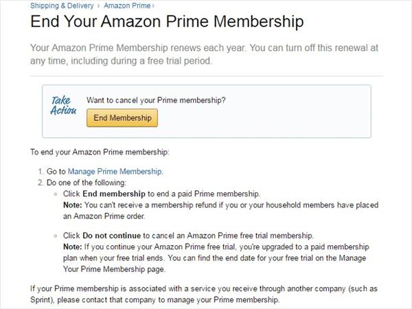 End Amazon Prime Membership