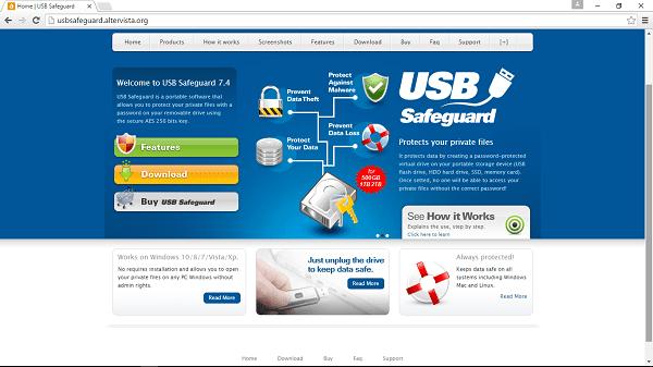 USB Safeguard main webpage
