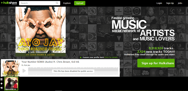 HulkShare homepage unblocked music sites
