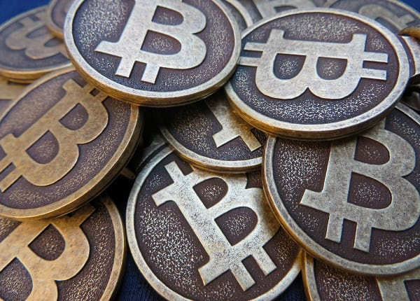 Bitcoins piled together
