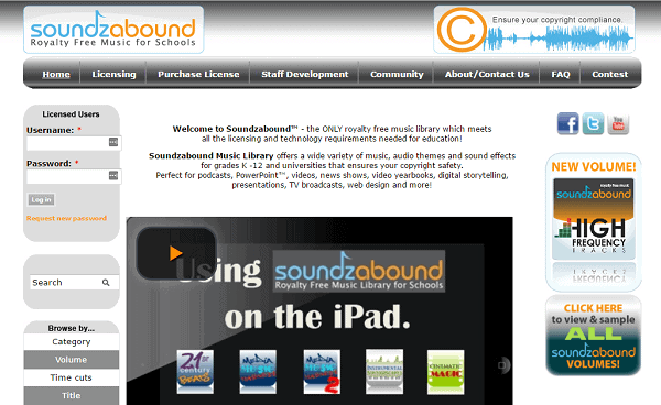 SoundzAbound homepage unblocked music sites