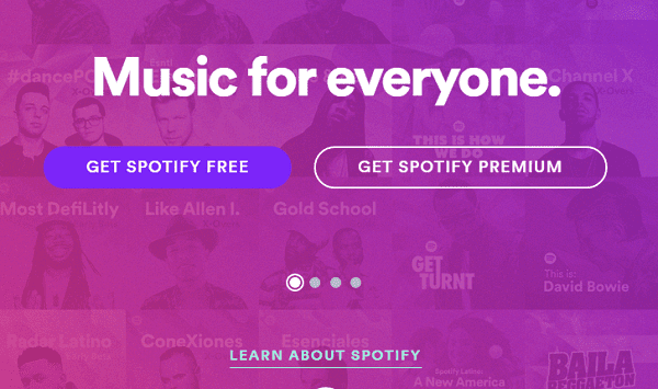 Spotify webpage