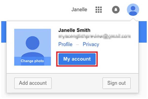 Gmail My Account  button
