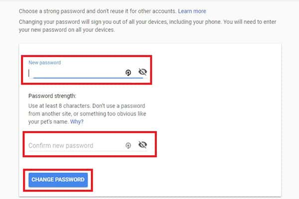 Gmail New Password