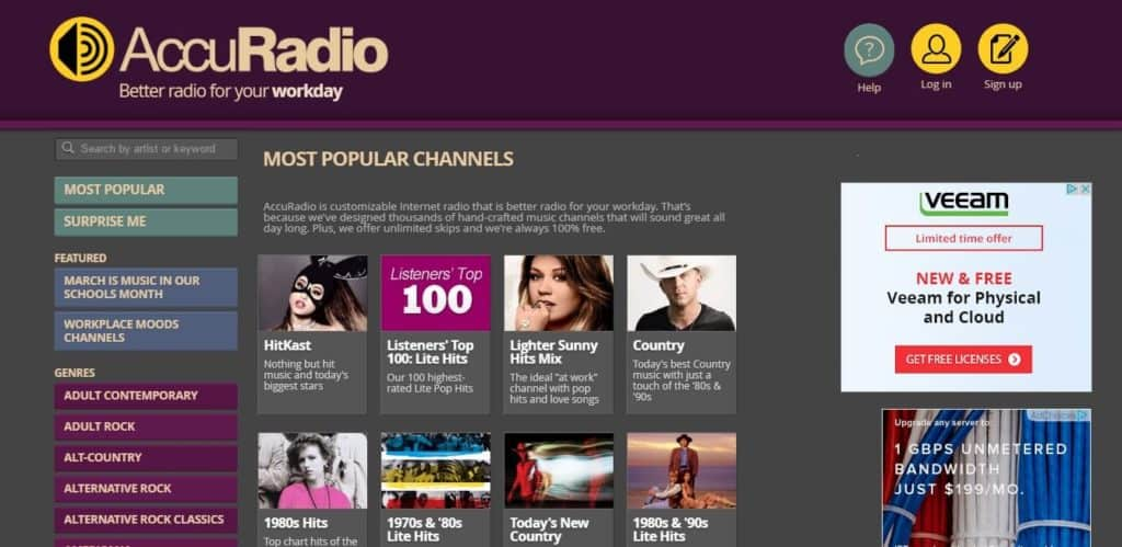 AccuRadio unblocked music sites
