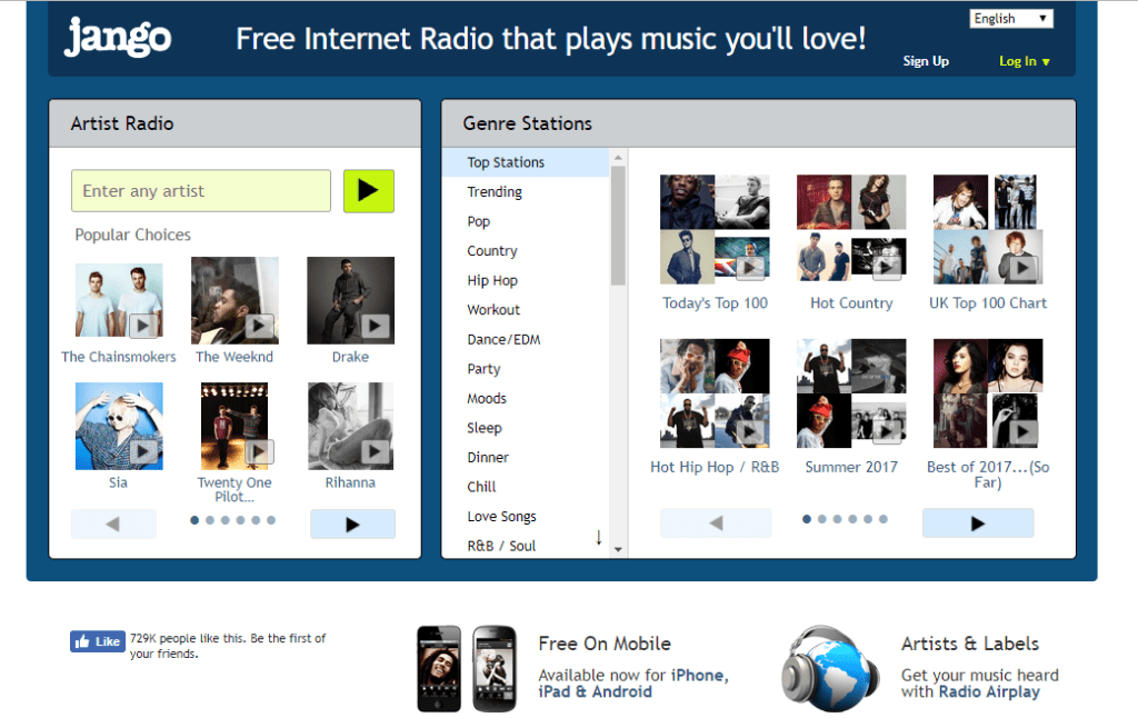 Jango unblocked music sites
