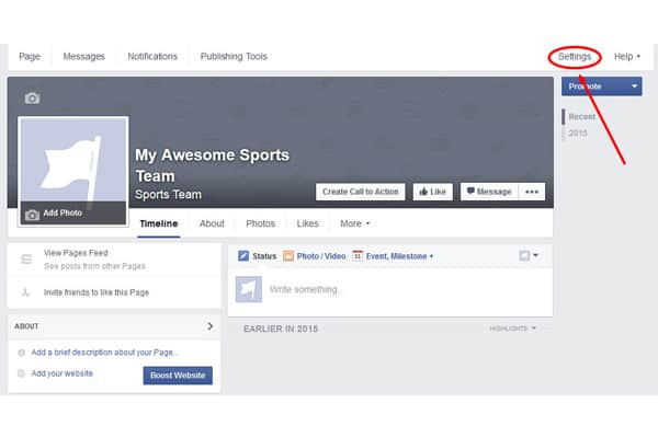Facebook page settings button