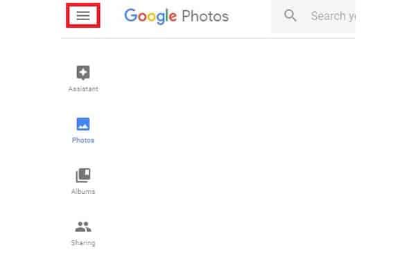Google photos bars menu