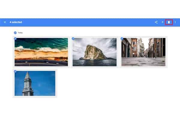 Google photos trash button