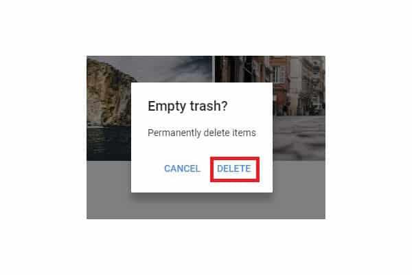 Google photos empty trash pop up