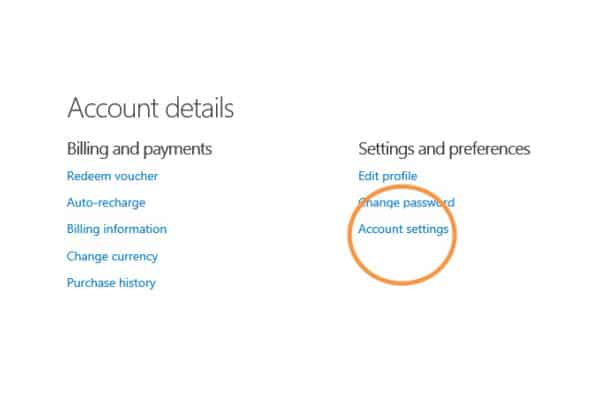 Skype Account Settings
