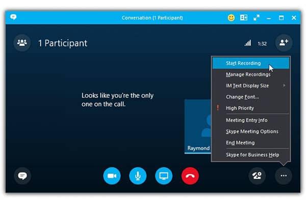 Skype for business recording call