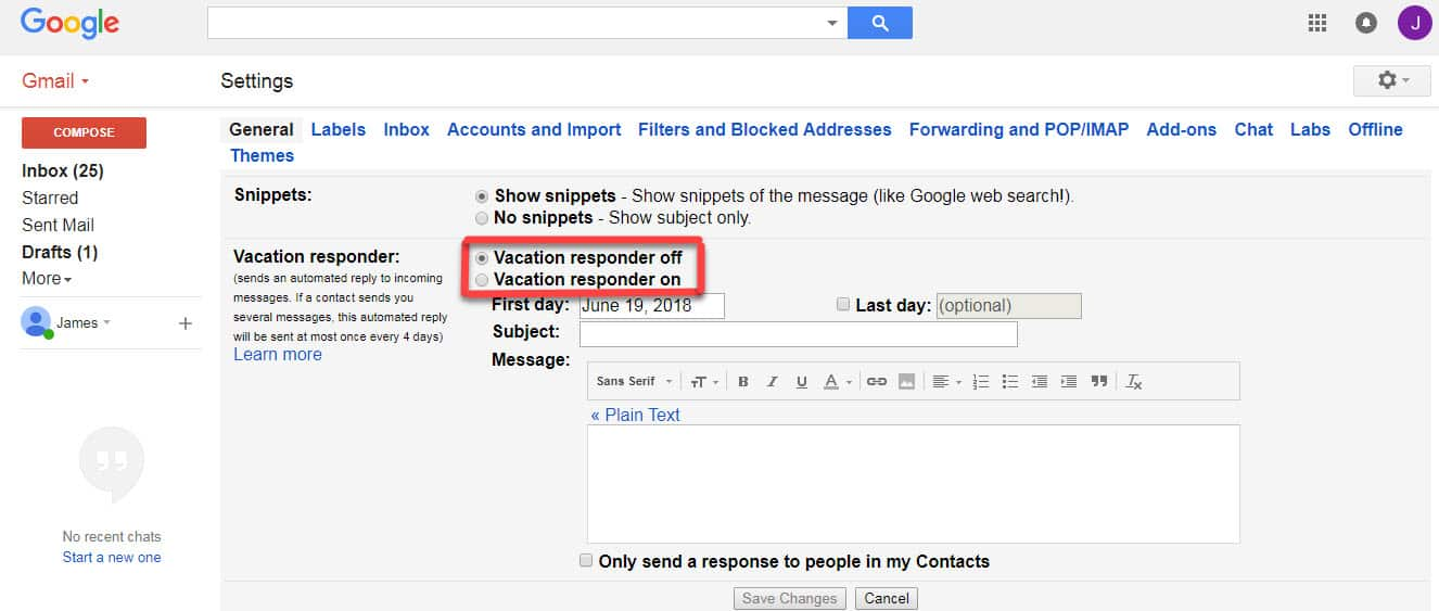 gmail auto reply vacation responder settings
